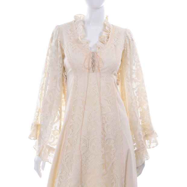 1970s Gunne Sax Lace Bell Sleeve Vintage Wedding Dress