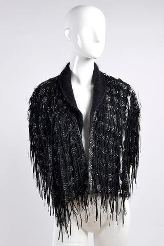 Lainey Keogh Ireland Hand Knit Black & Silver Sweater Jacket