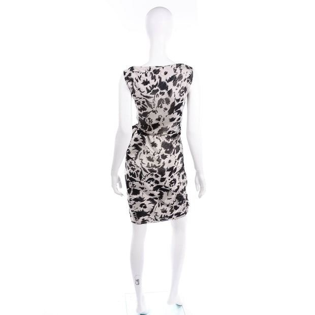 Black & Gray Lanvin 2011 Alber Elbaz Dress Crinkle Abstract Print Silk