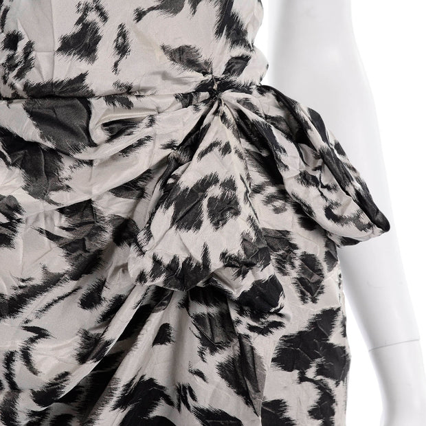 Draped Lanvin 2011 Alber Elbaz Dress Crinkle Abstract Print Silk