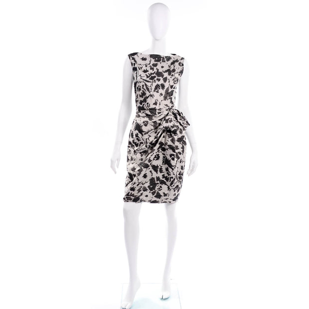 Lanvin 2011 Alber Elbaz Dress Crinkle Black & Gray Abstract Print Silk