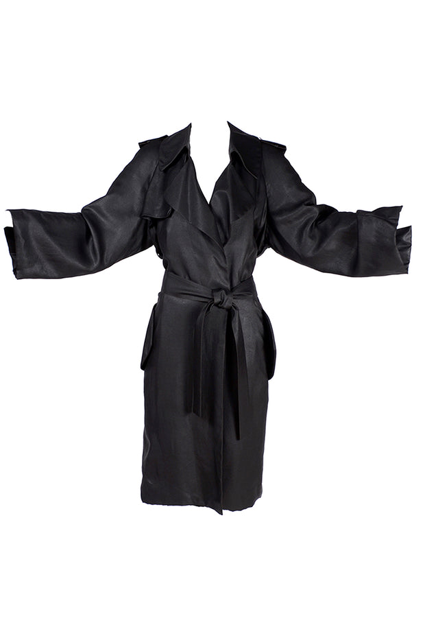 Alber Elbaz Lanvin Spring Summer 2006 Runway Black Silk Trench Coat