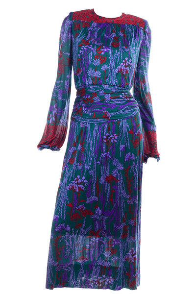 1980s Numbered Lanvin Dress in Green & Purple Floral Jersey