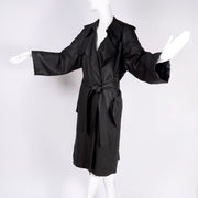 Alber Elbaz Lanvin Spring Summer 2006 Runway Black Silk Trench Coat pockets