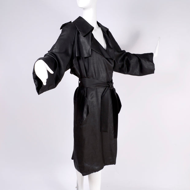 Alber Elbaz Lanvin Spring Summer 2006 Black Silk Trench Coat