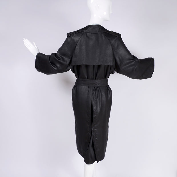 Alber Elbaz Lanvin Spring Summer 2006 Runway Black Silk Trench Coat w belt