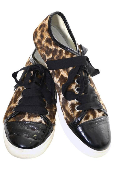 Lanvin vintage cheetah print tennis shoes