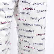 1970s Lanvin Novelty Print White Pantsuit w/ Acrobats & Words Size 8