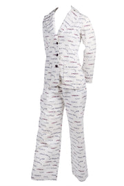 Vintage Lanvin white pantsuit with acrobats and words
