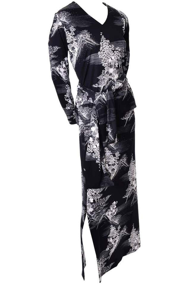 Lanvin Vintage Black & White Print Vintage Dress