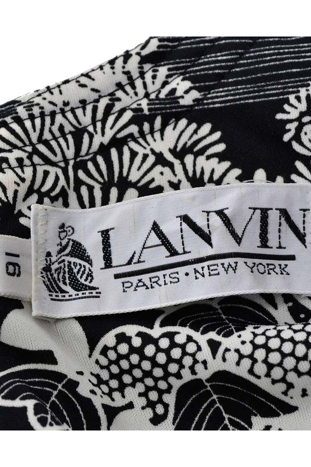 Lanvin Vintage 70s Black & White Print 1970s Vintage Dress