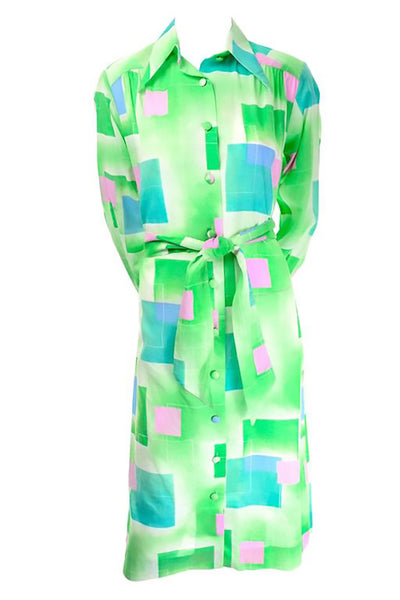 Lanvin 1970's Bright Green Blue and Pink Geometric Shirt Dress