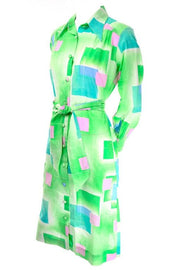 1970's Green Cotton Lanvin Shirt Dress
