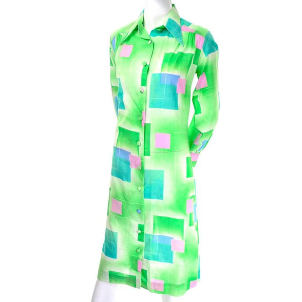 Vintage Dress Green Squares Geometric Lanvin