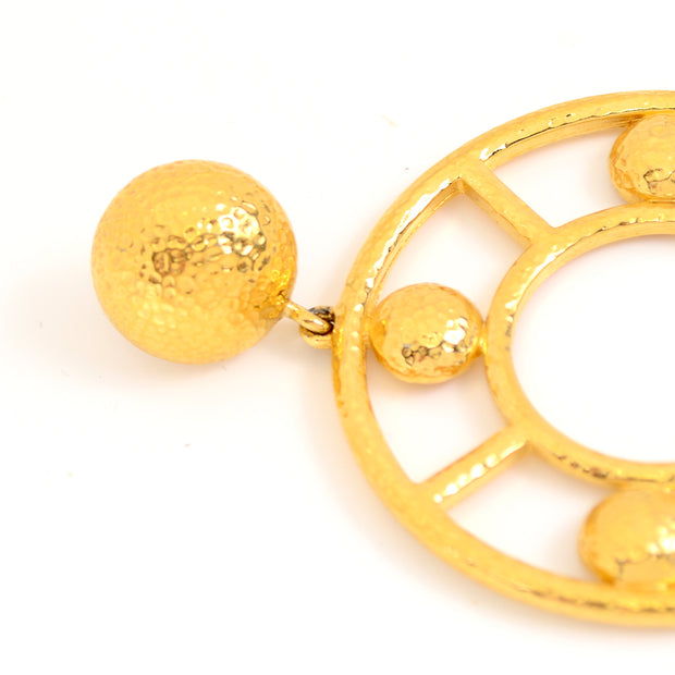 1980s Monet Large Statement Gold Circle Earrings