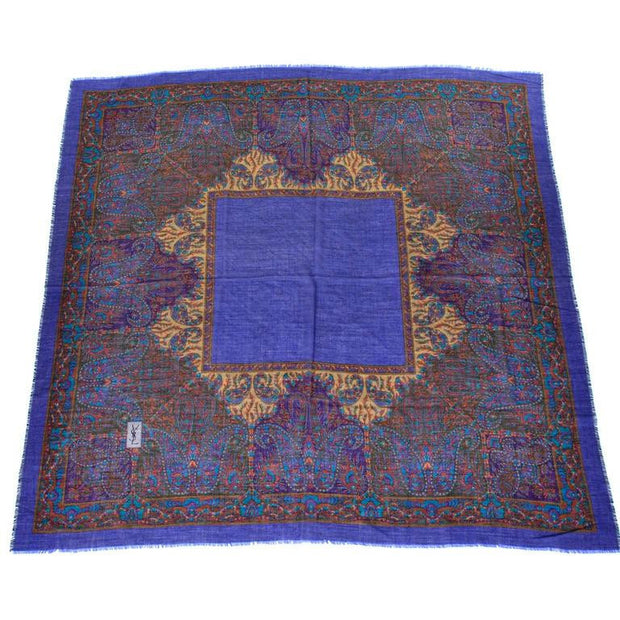 Extra Large YSL vintage logo paisley scarf in jewel tones