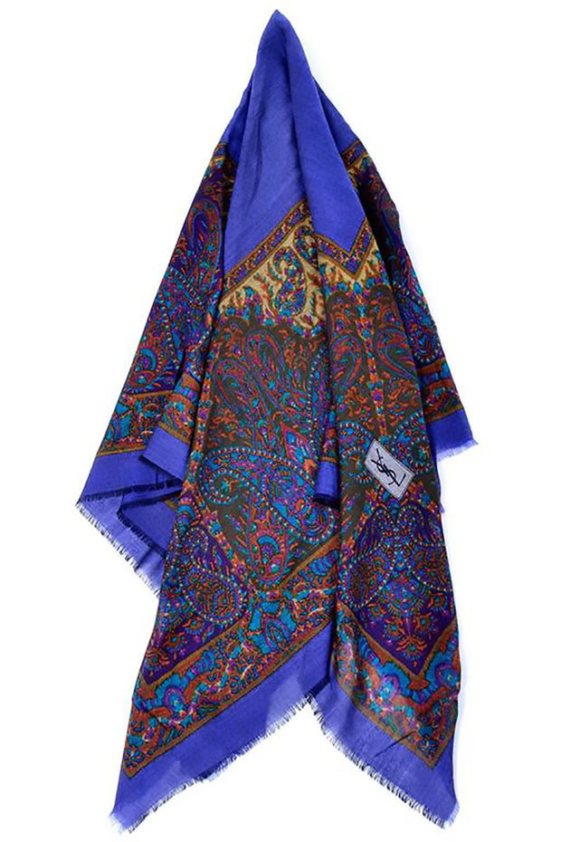 d720b004 Yves Saint Laurent Vintage Scarf in Jewel Tones in Oversized Wool ...