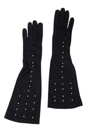 1950s Lady Gay Long Black Gloves w/ Pearls & Rhinestones 6