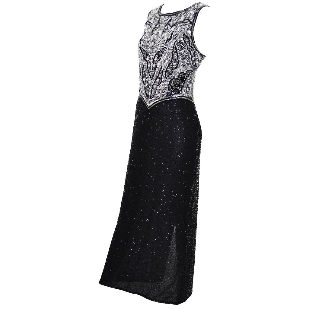 Laurence Kazar Beaded Vintage Dress Gown Black
