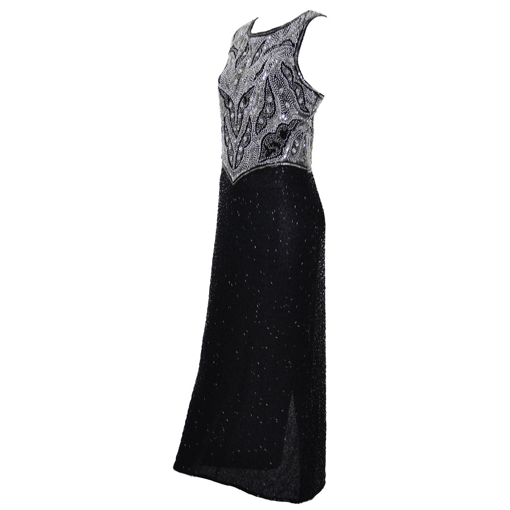 Sleeveless Formal Laurence Kazar Beaded Vintage Dress