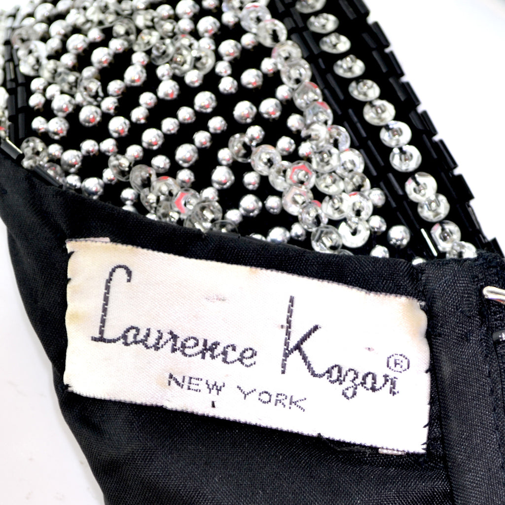 Laurence Kazar Beaded Vintage Dress Black Silver Long