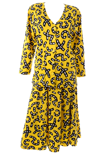 Yellow Postmodern Print Cotton Outfit Dress