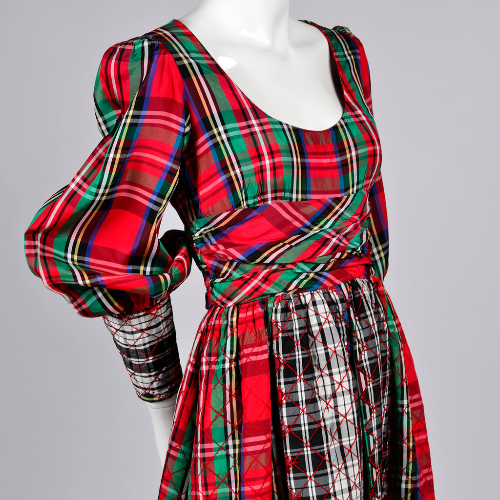 Leo Narducci Red Plaid vintage jumpsuit dress