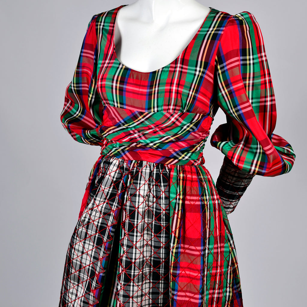 Vintage Leo Narducci Red Green Plaid Dress Jumpsuit