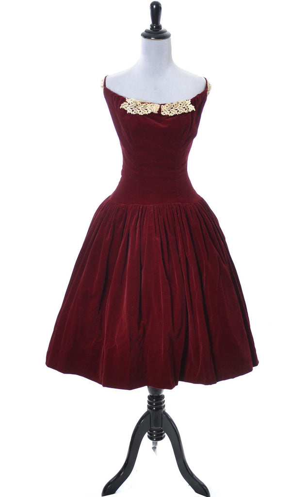 Vintage red velvet 1950's dress lace