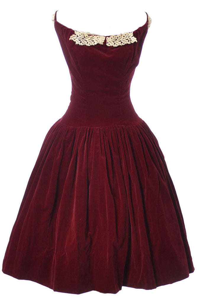 Red velvet 1950s holiday dress