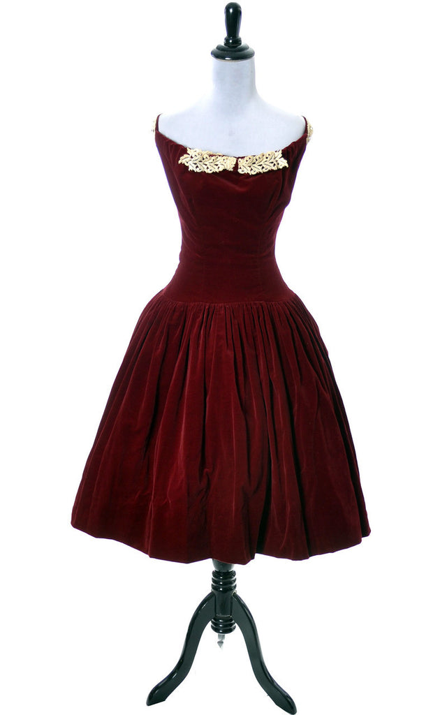 1950s vintage dress red velvet Leon Frank Ohio