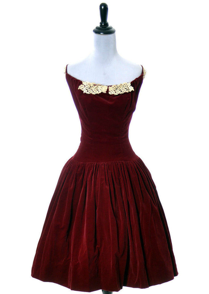 1950s vintage dress red velvet and lace