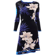 Leonard 2 Pc Dress in Black Silk Jersey w Blue & Cream Flowers