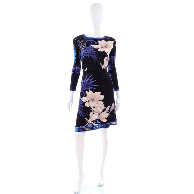 Leonard 2 Pc Dress in Black Blue Cream Floral Silk Jersey