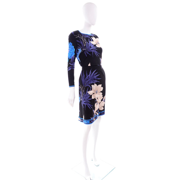 Leonard 2 Pc Dress in Black Silk Jersey w Blue & Cream Flowers Skirt Top