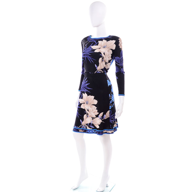 Leonard Two Pc. Dress in Black Silk Jersey w Blue & Cream Flowers