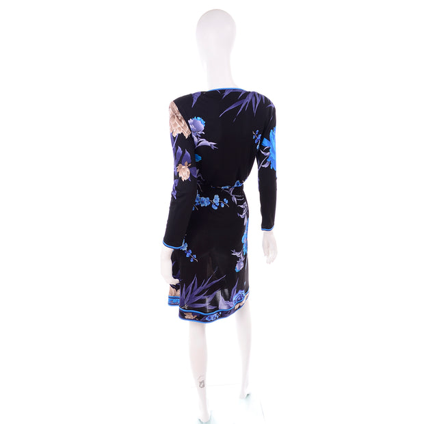 Leonard 2 Pc Dress in Black Silk Jersey w big Blue & Cream Flowers