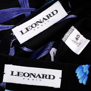 Leonard 2 Pc Dress in Black Silk Jersey w Blue & Cream Flowers France