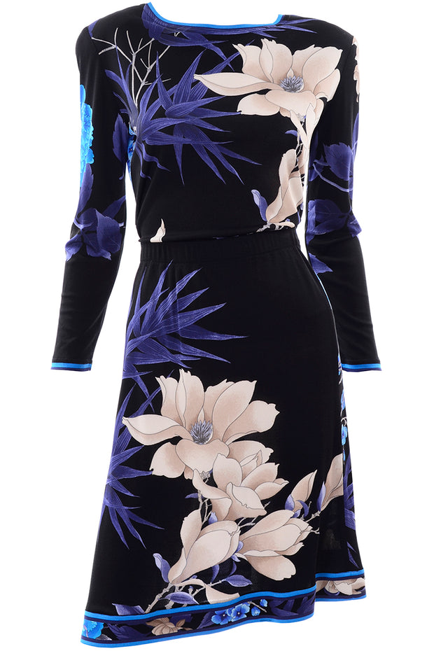 Leonard 2 Pc Dress in Black Silk Jersey w Blue & Cream Flowers As New