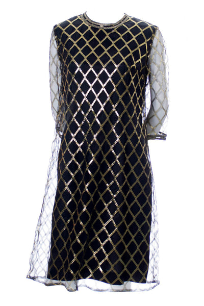 Mod Leslie Fay black and gold lame 1960s vintage cocktail party dress - Dressing Vintage