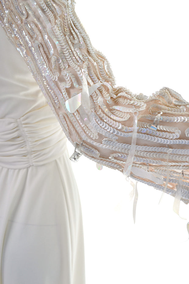 Detail Sheer Statement Sleeves on a 1970's Lilli Diamond Vintage Maxi Dress