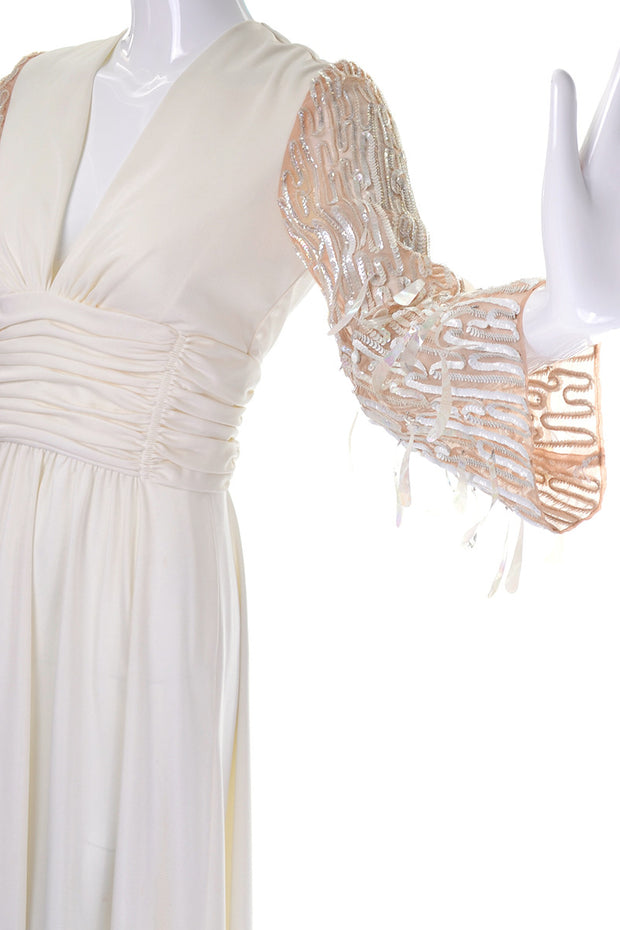 Drop Sequins on the Sheer Statement Sleeves on a 1970's Lilli Diamond Vintage Maxi Dress