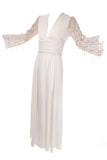 1970's Lilli Diamond Off White Maxi Dress Statement Sleeves Vintage Wedding Dress
