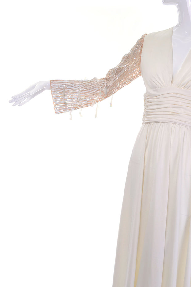 Sheer Statement Sleeves on a 1970's Lilli Diamond Vintage Maxi Dress