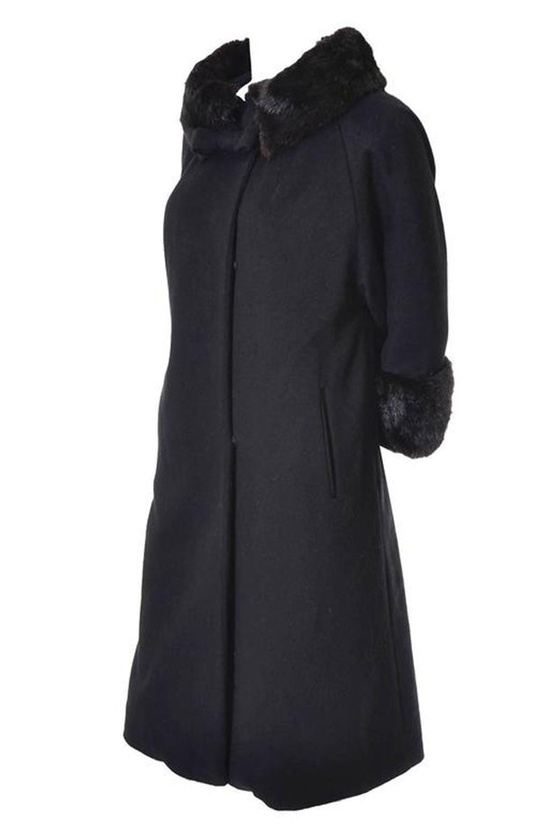 Black wool Lilli Ann vintage swing coat
