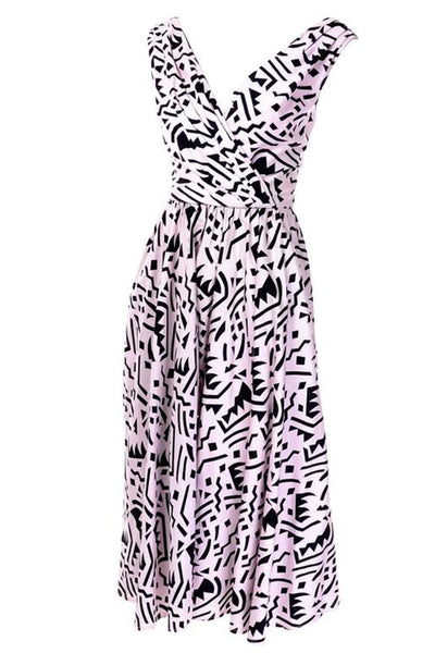 Lillie Rubin 1980's Memphis Inspired Graphic Print Dress