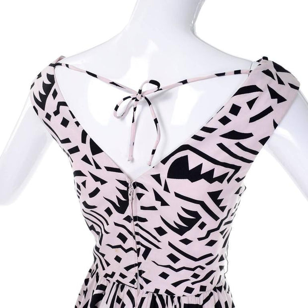 Pink cotton Lillie Rubin vintage dress with black memphis inspired print small