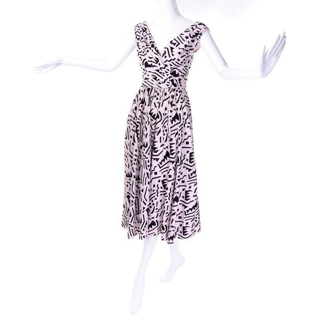 Lillie Rubin pink cotton vintage dress with Memphis Inspired print 1980's