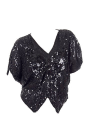 1980's Lisiano Black Silk Butterfly Top
