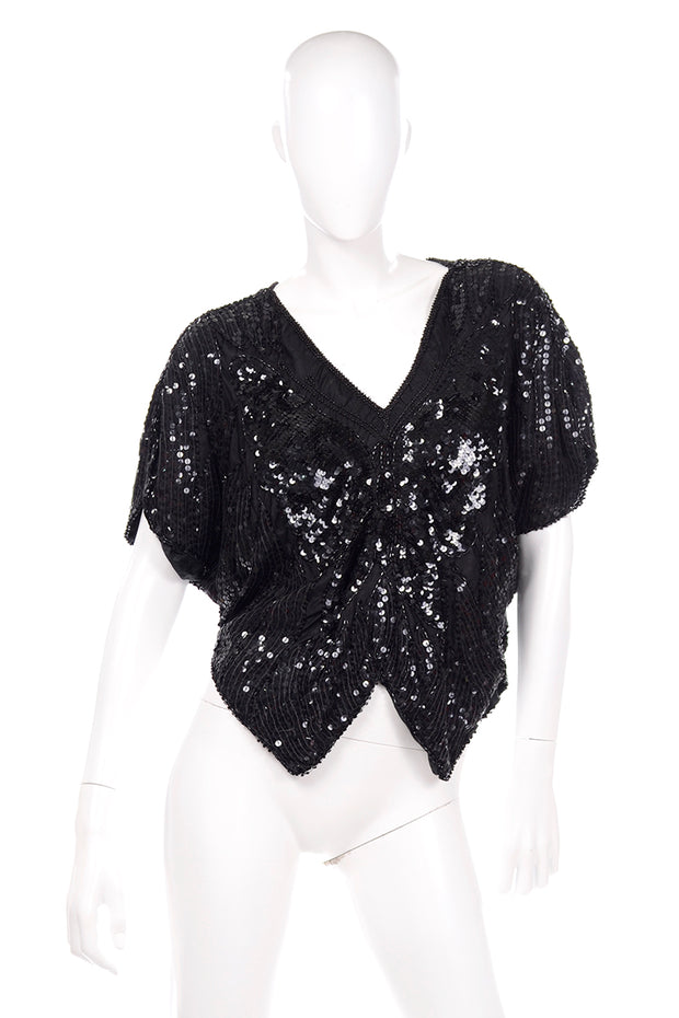Vintage Black Silk Sequin Butterfly Top